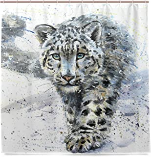 ALAZA Watercolor Snow Leopard Shower Curtain Waterproof Polyester Bath Curtian With Hooks 72x72 Inch