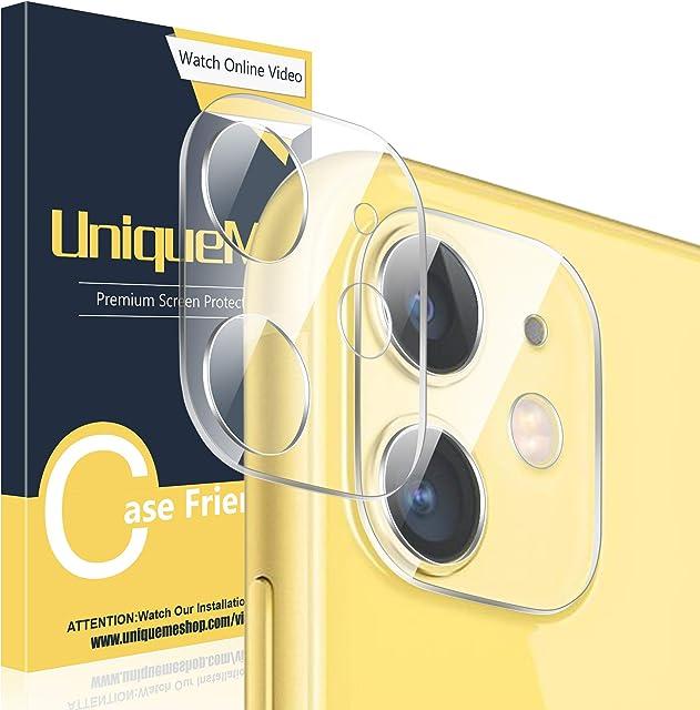 UniqueMe [2 Pack Protector de Lente de cámara para iPhone 11 Vidrio Templado [ 9H Dureza ] HD Film Cristal Templado