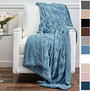 The Connecticut Home Company Luxury Faux Fur with Sherpa Reversible Throw Blanket, Super Soft, Large Wrinkle Resistant Blankets, Warm Hypoallergenic Washable Couch or Bed Throws, 65x50, Slate Blue