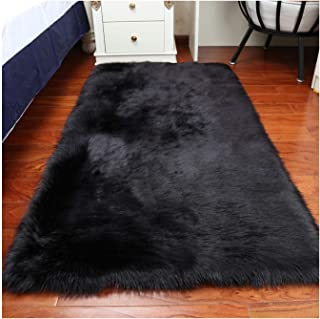 Elhouse Home Decor Rectangle Rugs Faux Fur Sheepskin Area Rug Shaggy Carpet Fluffy Rug for Baby Bedroom,2ftx3ft,Black