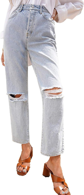Bdcoco Womens High Waisted Ripped Boyfriend Jeans Straight Leg Distressed Denim Pant
