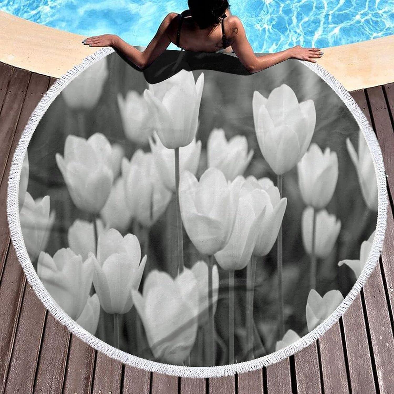 CHEKNAO Beautiful White Tulip Round Yoga Super sale Lady Blanke Popular products Beach Towel