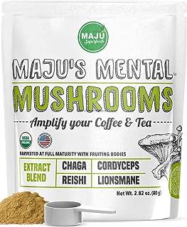 MAJU's Mental Mushroom Powder Extract, Strong Lions Mane, Chaga, Reishi, Cordyceps, Fruiting Bodies for Coffee, Immune Sys...
