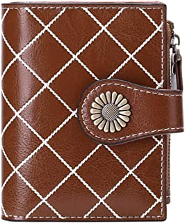 SENDEFN Small Women Wallet Genuine Leather Bifold Purse with ID Window (White with Brown)