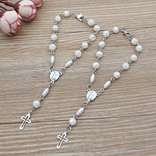 Baptism Favor (12 PCS) Mini Rosaries with Clasp Decade Rosary Recuerditos Bautizo Christening First Communion Rosary White...