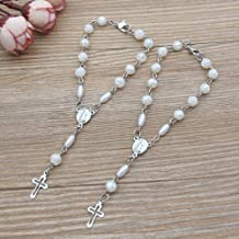 Baptism Favor (12 PCS) Mini Rosaries with Clasp Decade Rosary Recuerditos Bautizo Christening First Communion Rosary White...