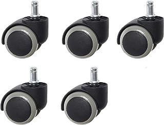 Pineapplen Office Chair Wheels, Universal Wheels Noiseless Wheels PU Piston Castors, Set Of 5