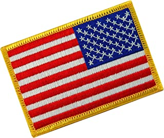 American Flag Embroidered Patch Reverse Gold Border w/VELCRO Brand Fastener