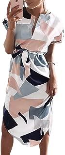 Sommerkleider Damen Kurzarm V-Ausschnitt Strand Blumen Kleider Abendkleid Knielang