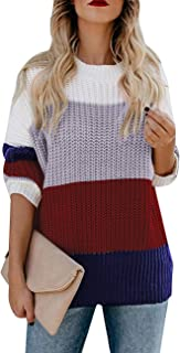ANRABESS Womens Oversized Pullover Sweater Colorblock Rainbow Striped Casual Long Sleeve Loose Knitted Shirts Tops