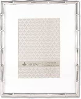 Lawrence Frames 710180 5 by 7-Inch Silver Metal Bamboo Picture Frame, 8 by 10-Inch Matted
