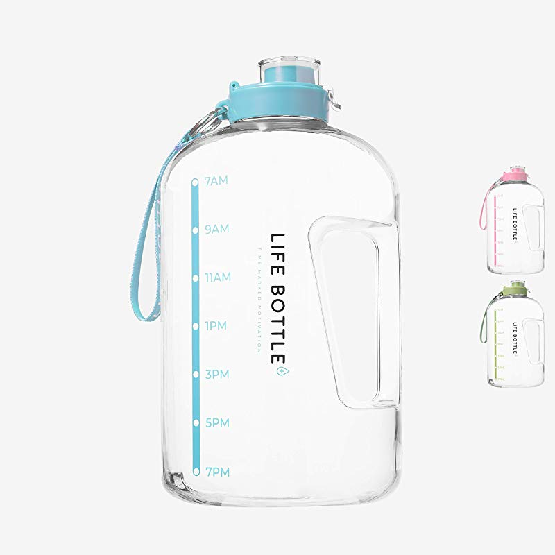 Life Bottle Time Marked Water Bottle 1 Gallon Water Bottle With Time Marker Extra Large Water Bottle Water Jug Helps You Drink More Water BPA Free Water Bottle With Flip Top