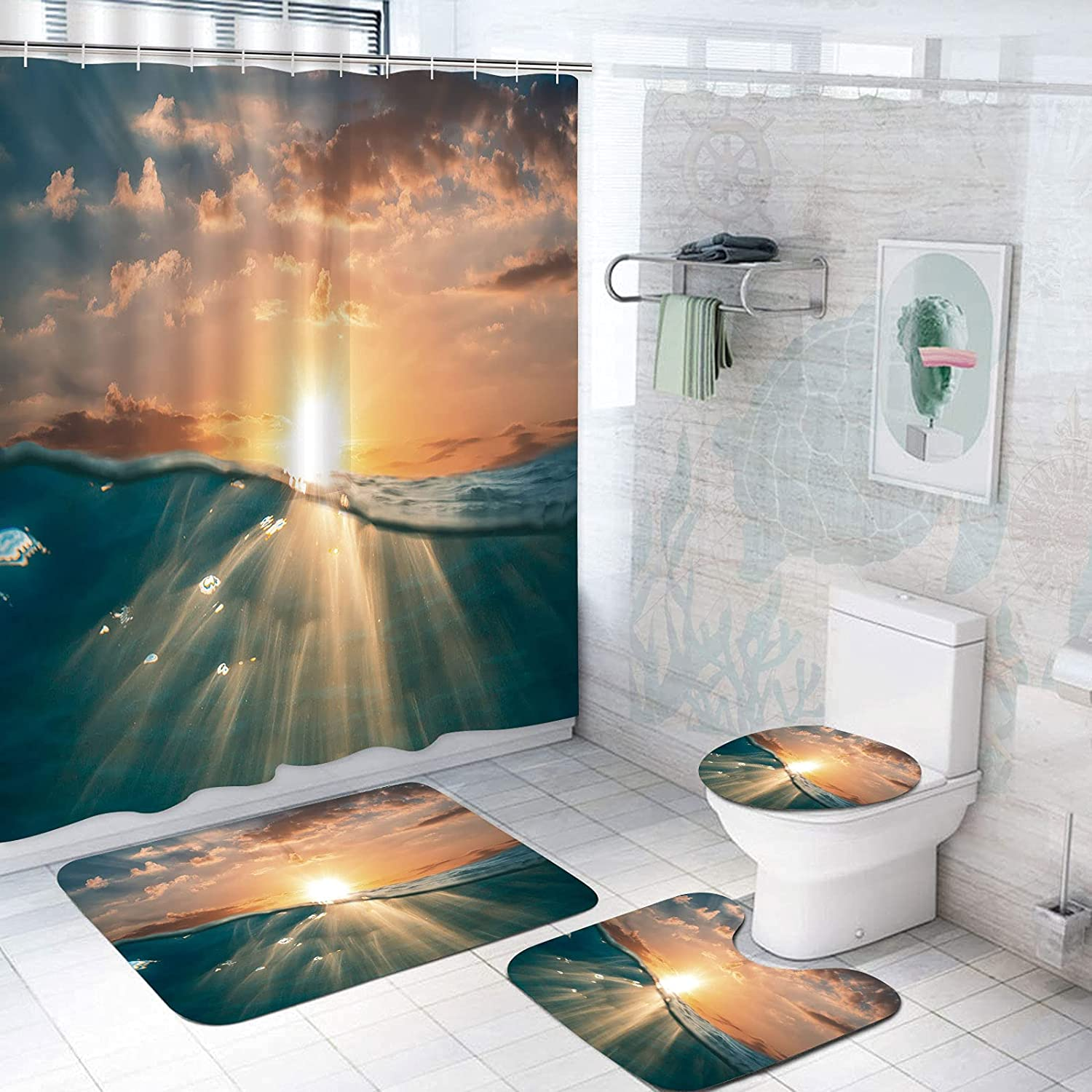 SUPNON 4 Pcs 72X72 unisex Inch 35% OFF Sets Shower Accessory Matching Bathroom