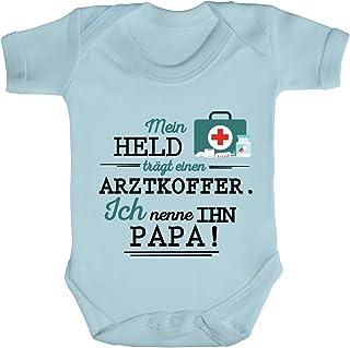 ShirtStreet Geschenk zum Vatertag Arzt Doktor Strampler Bio Baumwoll Baby Body kurzarm Jungen Mädchen Papa - Mein Held trägt einen Arztkoffer
