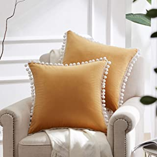 WESTERN HOME WH Decorative Throw Pillow Covers with Pom-poms, Soft Square Velvet Pillowcase, Solid Cushion Case 20 x 20 Inch for Couch Sofa Bedroom Car, Pack of 2, Gold