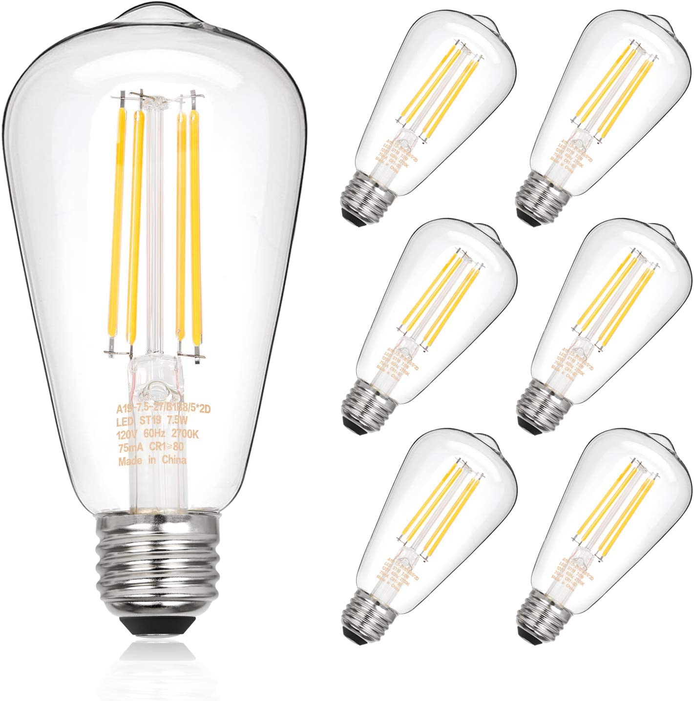 Dimmable Vintage LED Edison Bulbs 60W 7.5W 800lm Equivalent Limited Special Max 63% OFF Price