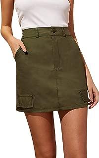 Women's Summer A Line Mid Waist Camo Print Mini Denim Skirt