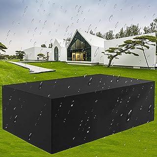 WONICE Cubierta de Muebles de Jardín Fundas de Muebles Impermeable Resistente al Polvo Anti-UV Protección Exterior Muebles de Jardín Cubiertas de Mesa y Silla (250x200x80cm)