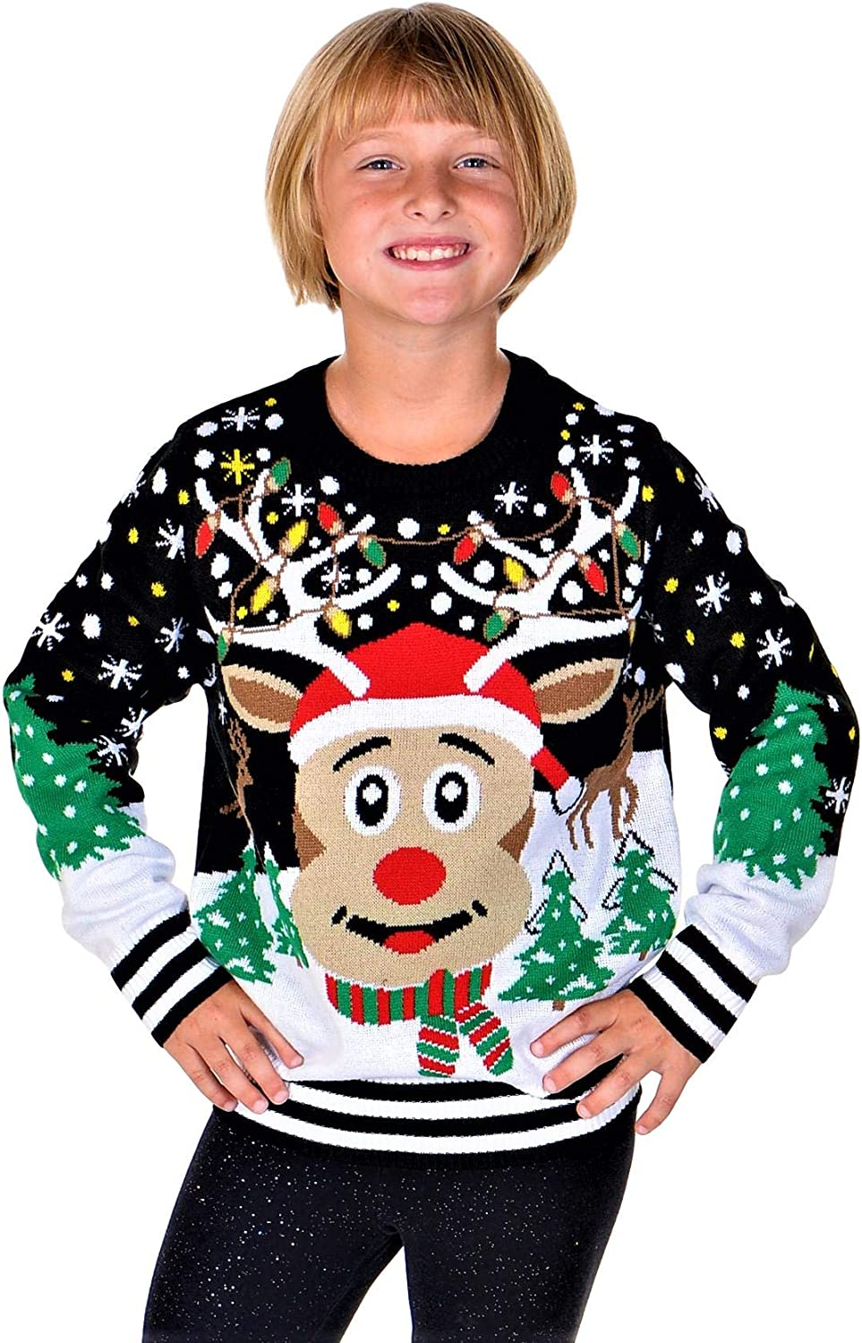 SoCal ! Super beauty product restock quality top! Look Girls Ugly Christmas Sweater Red Rudolph The Nose Finally resale start Pul