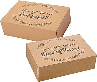 Bridesmaid Proposal Box Set I 10 Pack I 1 Maid of Honor Proposal Box and 9 Will You be My Bridesmaid Boxes I Kraft Bridesm...