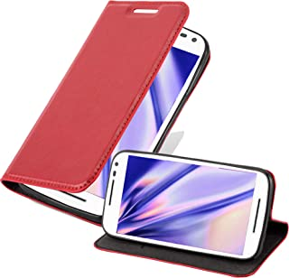 Cadorabo Book Case Works with Motorola Moto G3 in Apple RED – with Magnetic Closure, Stand Function and Card Slot – Wallet Etui Cover Pouch PU Leather Flip