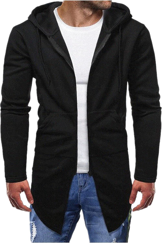 XXBR Tunic Jackets for Mens, Zipper Irregular Hem Wrap Long Cardigan Coat Long Sleeve Fashion Slim Fit Hooded Outerwear