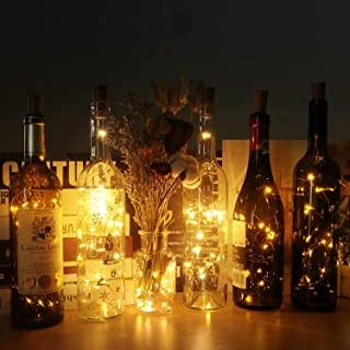 Wine Bottle Lights with Cork, 10 Pack Battery Operated 2M 20LED Cork Shape Silver Wire Fairy Mini String Lights for DIY, B...