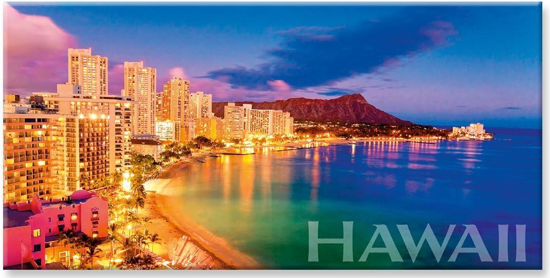 Panoramic Hawaiian Art Collectible - Waikiki Same day shipping Magnet Super sale period limited Refrigerator