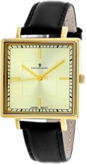Christian Van Sant Women's Callista Stainless Steel Quartz Leather Strap, Black, 18 Casual Watch (Model: CV0413)