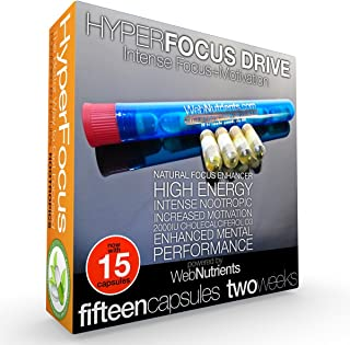 15-Day HyperFocus Drive The Ultimate Nootropic Solution for Focus and Motivation. Vegetarian Capsules.