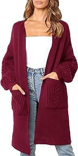 Fessceruna Women Open Front Long Cardigans Sweaters Kimono Loose Knit Draped Pockets Sweater