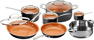 Gotham Steel 12 Piece Copper Kitchen Set with Non-Stick Ti-Cerama Copper Coating by Chef Daniel Green – Includes Skillets, Fry Pans and Stock Pots