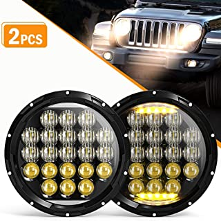 LED Headlight 5D Round 7 Inch 105W Falconstar DRL high/low beam for Jeep Wrangler JK TJ LJ CJ for Harley Motorcycles ,2 Pacs