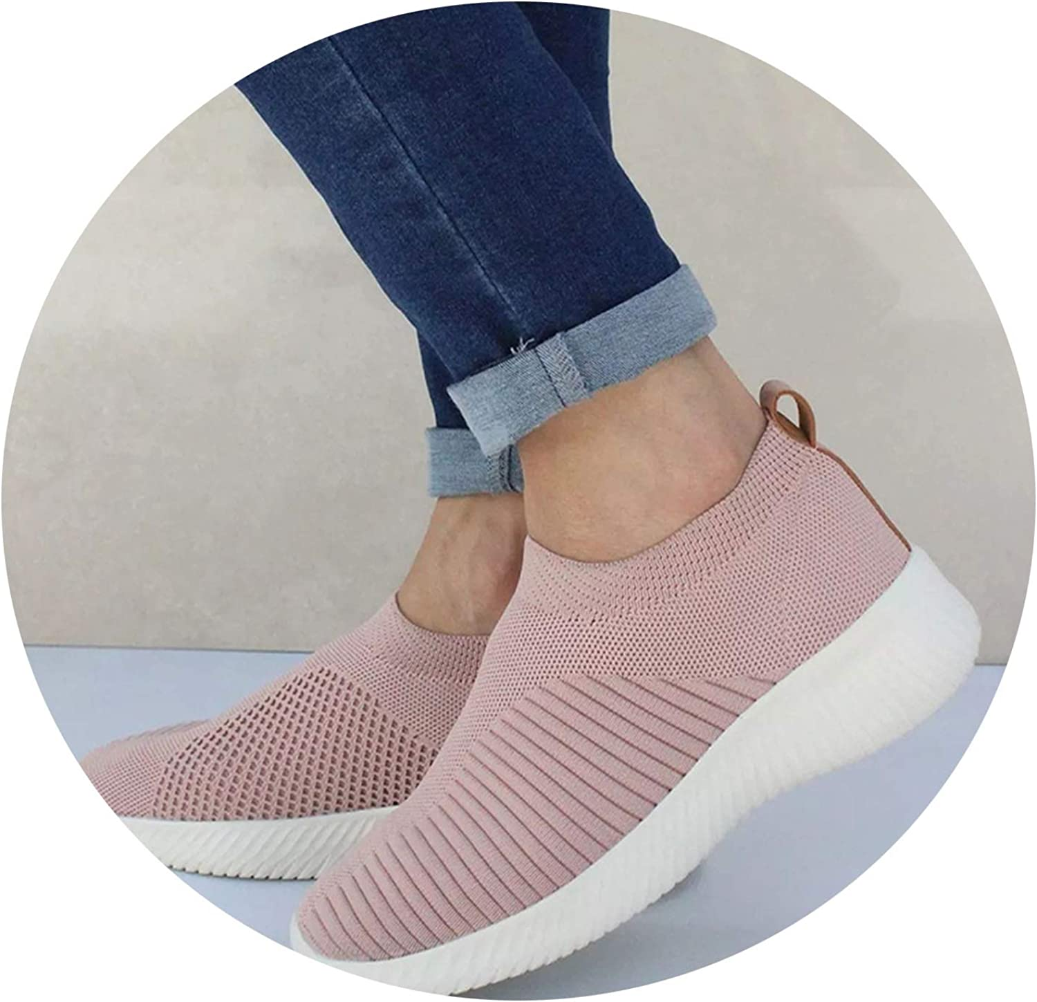 Don't mention the past Women Knitting Slip On Autumn Flat Loafers Lady Plus Size Comfort Breathable Mesh Sneaker Walking shoes