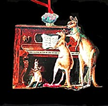 Kangaroos at Piano Ornament Handcrafted Wood Christmas Decoration Carols Poinsettia Motif Australian Ornament Australia Souvenir, Zoo Animal