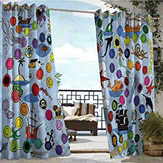 crabee Outdoor Blackout Curtains Board Game,Pirate Game Start Finish,W72 xL108 Outdoor Patio Curtains Waterproof with Grommets