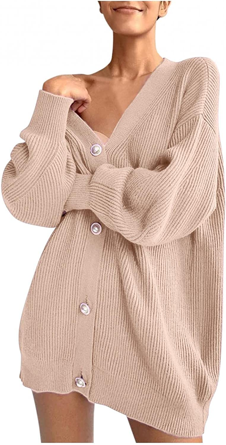 Women's Fashion Cardigan Caual Solid Color Long Sleeve Loose Knit Sweater New Single Breasted V-Neck Blouse Tops