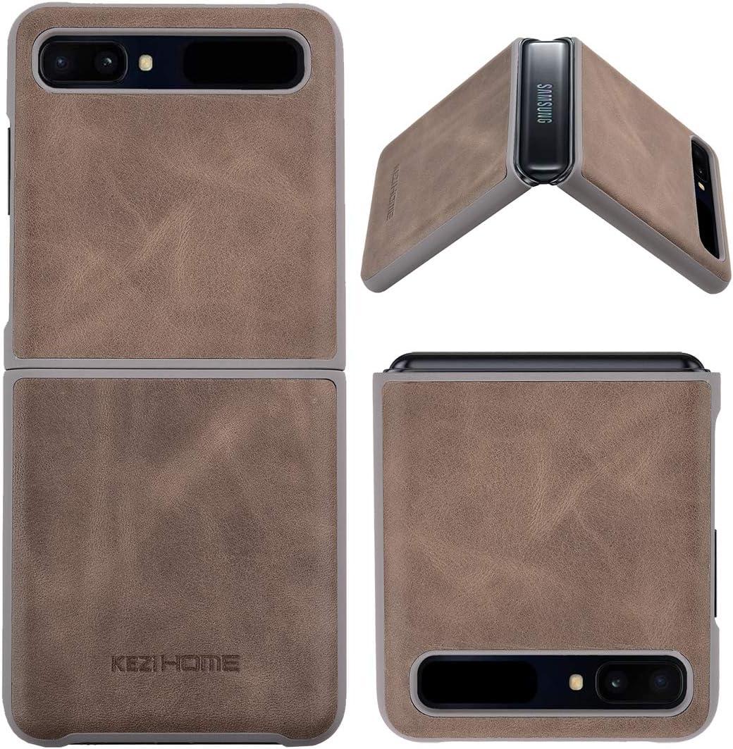 KEZiHOME Samsung Galaxy Z Flip Case/Z Flip 5G Case, Genuine Leather Samsung Z Flip Case, Minimalist Ultra Thin Slim Durable Protective Phone Case Cover for Samsung Galaxy Z Flip (Gray)