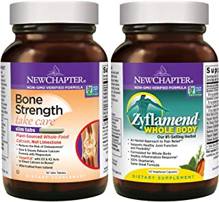 New Chapter Calcium + Joint Bundle with Bone Strength's Plant Calcium and Zyflamend's 10 Herb Blend for Herbal Pain Relief...