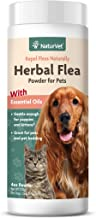 NaturVet – Herbal Flea Plus Essential Oils – Essential Oils Help to Repel Fleas – Deodorizes With a Fresh Herbal Fragrance – For Dogs & Cats – 4 oz Powder