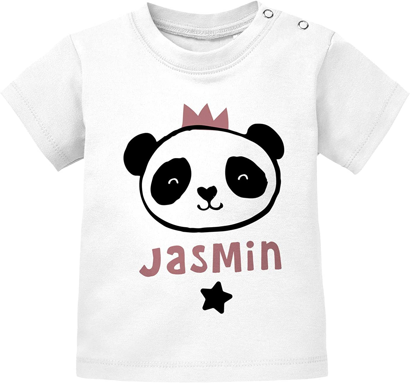 SpecialMe/® Baby T-Shirt mit Namen personalisiertTiermotive Little Fox Fuchs Pinguin Panda Kurzarm Bio-Baumwolle