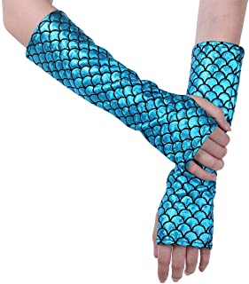 JEATHA Mermaid Fish Scale Fingerless Long Gloves Arm Sleeves Adult Party Supplies Halloween Costume Accessories