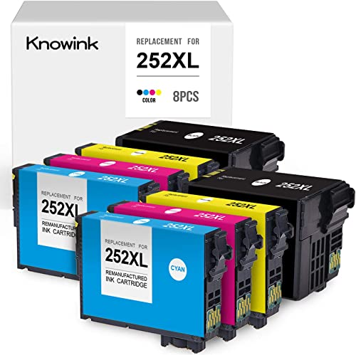 new arrival KNOWINK Remanufactured Ink Cartridge Replacement for Epson 252XL 252 XL online T252XL for Workforce WF-7710 WF-7720 WF-3640 WF-3620 WF-7210 WF-7620 popular WF-7610 WF-7110 Printer (8-Pack) online sale