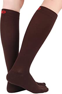 +MD 3 Pairs Bamboo Compression Socks 8-15mmHg for Women & Men Moisture Wicking Support Stockings for Airplane Flights, Tra...