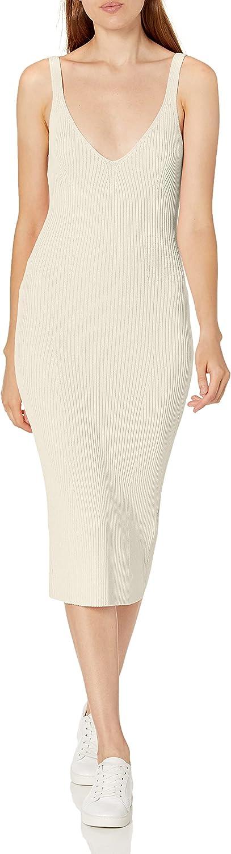 GUESS Women's Sleeveless Nyx Engineered Rib Knit Midi Dress