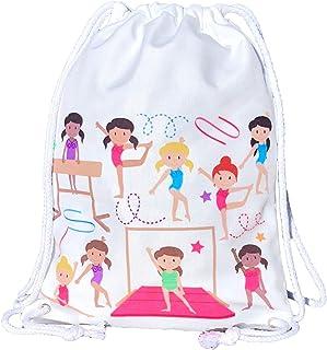 comprar comparacion Mochila HECKBO® para niñas, Bolsa de Ballet de algodón - Color Blanco, Estampada por Ambos Lados con gimnastas de Colores,...