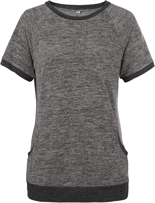 Womens Casual Shirts Crewneck Short Sleeve Color Block Tunic Tops Pullover Sweatshirt Tunic Blouse Top
