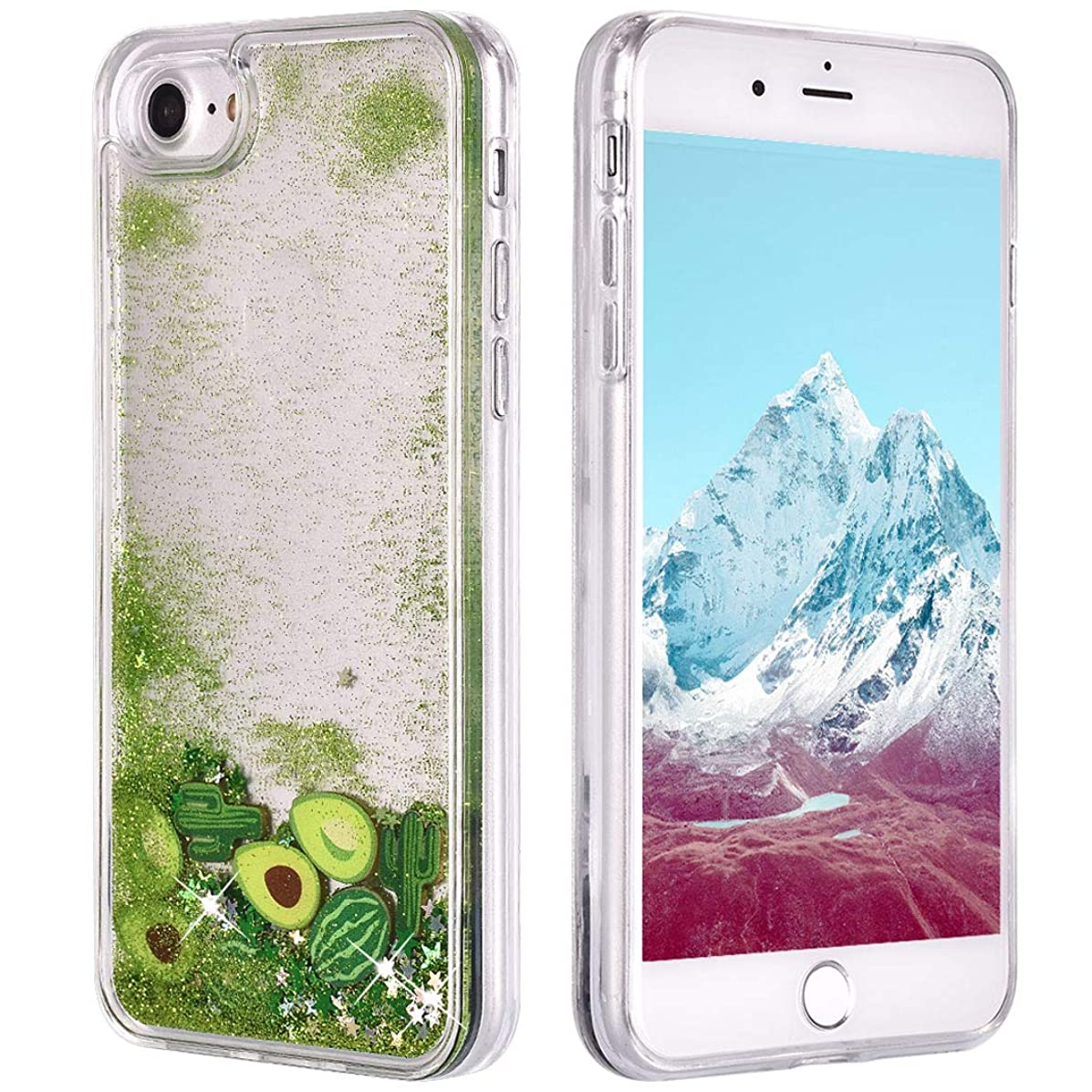iPhone 7 Case, iPhone 8 Glitter Case,LolStore Cute Bling Liquid Floating Cover Quicksand Flowing Ultra Clear Soft TPU Bumper Shell Protective Slim Case for iPhone 7/8 4.7 Inch, Cactus