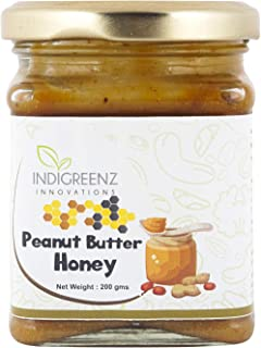 INDIGREENZ Peanut Butter Honey Sweetened with Raw Organic Honey, Creamy, 200 gm (Protein Rich, Non GMO, Energy Booster, Mo...