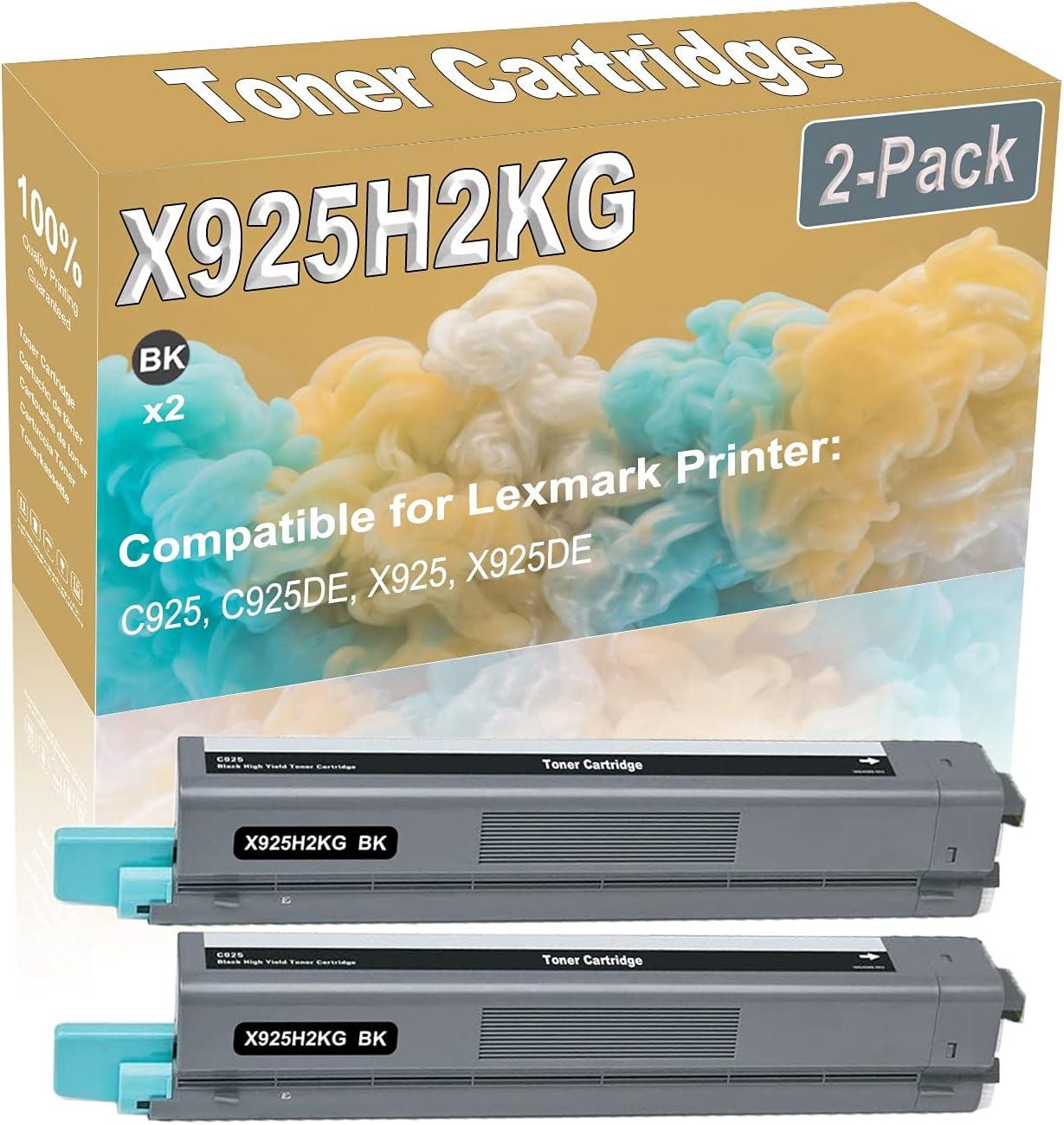 2-Pack (Black) Compatible C925 C925DE X925 X925DE Laser Toner Cartridge (High Capacity) Replacement for Lexmark X925H2KG Printer Toner Cartridge